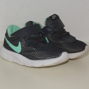 Toddler girl black and mint nikes with sparkles
